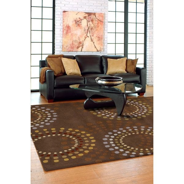 Hand-tufted Brown Contemporary Circles Mayflower Wool Geometric Area Rug - 7'6 x 9'6