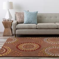 Hand-tufted Brown Contemporary Circles Mayflower Wool Geometric Area Rug - 8' Square