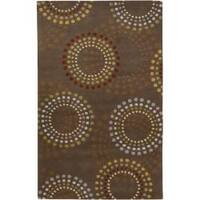 Hand-tufted Brown Contemporary Circles Mayflower Wool Geometric Area Rug - 9' x 12'