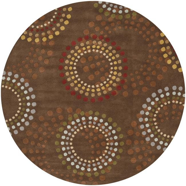 Hand-tufted Brown Contemporary Circles Mayflower Wool Geometric Rug (9'9 Round)