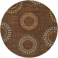 Hand-tufted Brown Contemporary Circles Mayflower Wool Geometric Area Rug - 9'9