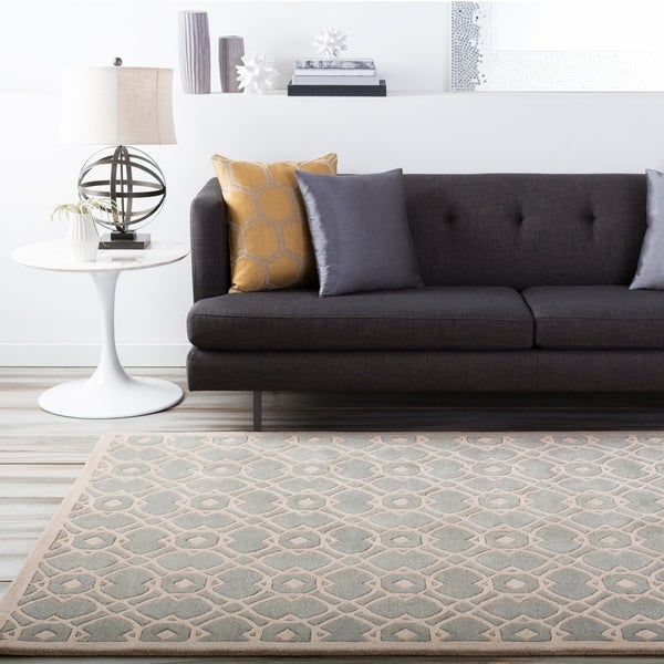 """Hand-tufted Glamorous Seafoam Wool Area Rug - 2'6"""" x 8' Runner. Opens flyout."""