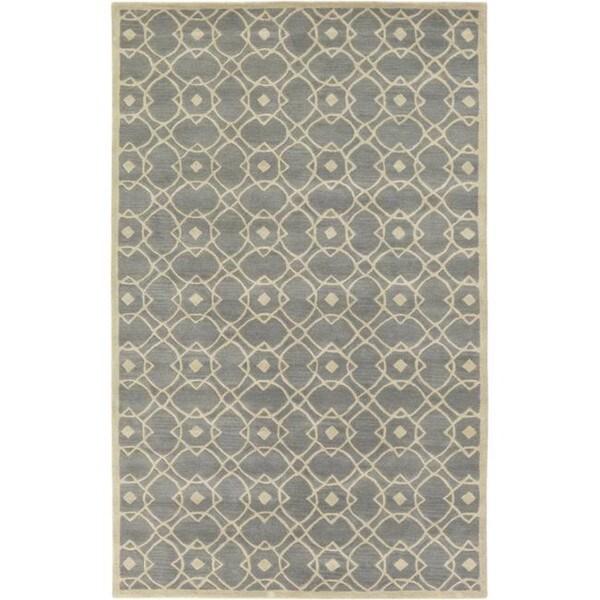 Hand-tufted Glamorous Grey Wool Area Rug - 5' x 8'