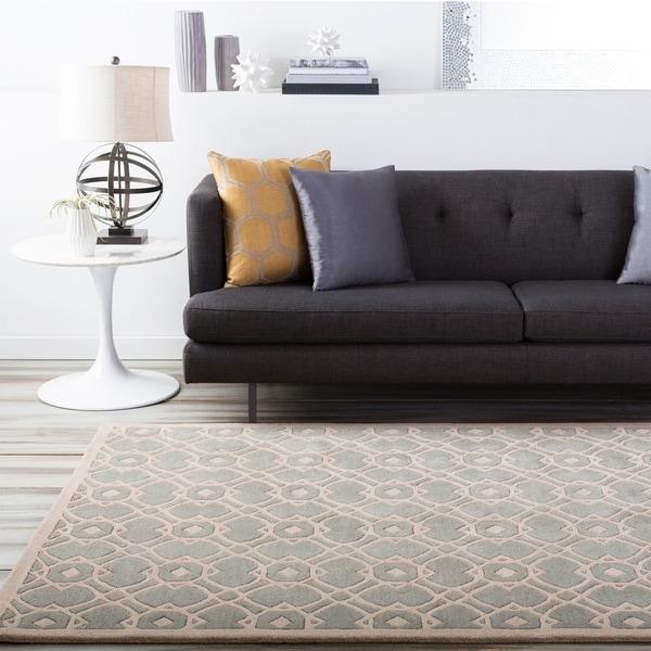 Hand-tufted Glamorous Grey Wool Area Rug - 8' x 11'