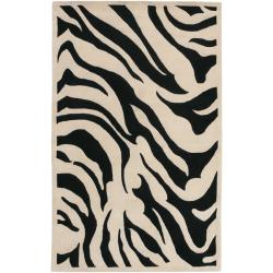 Hand-tufted Black/Beige Zebra Animal Print Glamorous Wool Rug (5' x 8')