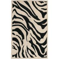 Hand-tufted Black/Beige Zebra Animal Print Glamorous Wool Area Rug (5' x 8') - 5' x 8'