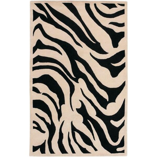 Hand-tufted Black/Beige Zebra Animal Print Glamorous Wool Area Rug - 5' x 8'