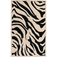 Hand-tufted Black/Beige Zebra Animal Print Glamorous Wool Area Rug - 5' x 8'