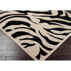Hand-tufted Black/White Zebra Animal Print Glamorous  Wool Rug (8' x 11') - Thumbnail 1