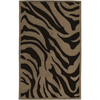 Hand-tufted Contemporary Brown Zebra Glamorous New Zealand Wool Rug (3'3 x 5'3)
