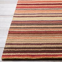 Hand-crafted Red Striped Casual Wool Area Rug - 2'6 x 8'