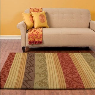 Hand-crafted Red Striped Casual Stripes Wool Rug (5' X 8')