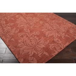 Hand-crafted Embossed Solid Orange Damask Wool Rug (5' x 8') - Thumbnail 1