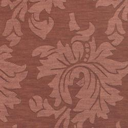 Hand-crafted Embossed Solid Orange Damask Wool Rug (5' x 8') - Thumbnail 2