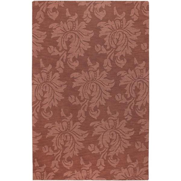Hand-crafted Embossed Solid Orange Damask Wool Area Rug - 5' x 8'