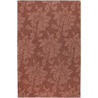 Hand-crafted Embossed Solid Orange Damask Wool Rug (5' x 8')