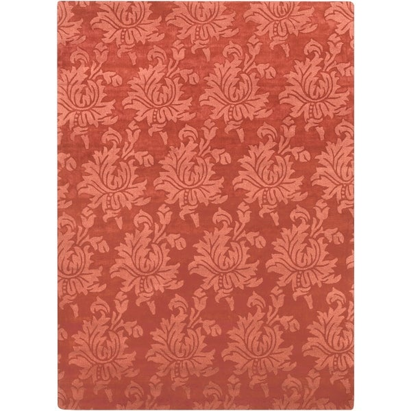 Hand-crafted Embossed Solid Orange Damask Wool Area Rug - 8' x 11'