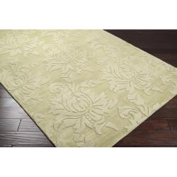 Hand-crafted Solid Green Damask Embossed Wool Rug (8' X 11') - Thumbnail 1