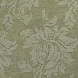 Hand-crafted Solid Green Damask Embossed Wool Rug (8' X 11') - Thumbnail 2
