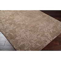 "Hand-crafted Solid Brown Damask Embossed Wool Area Rug - 2'6"" x 8'"