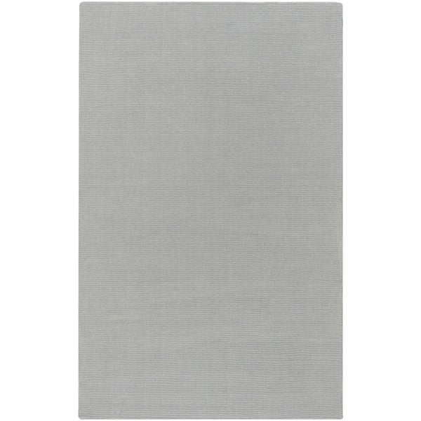 Hand-crafted Solid Grey/Blue Ridges Wool Area Rug - 6' x 9'