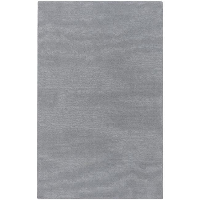 Hand-crafted Solid Grey/Blue Ridges Wool Rug (9' x 13')