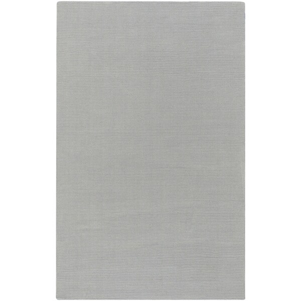 Hand-crafted Solid Grey/Blue Ridges Wool Area Rug - 9' x 13'