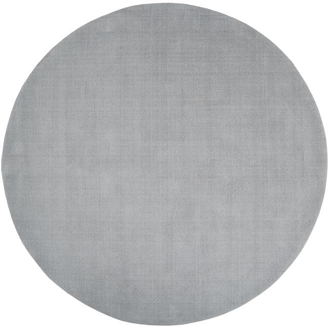 Hand-crafted Solid Grey/Blue Ridges Wool Rug (9'9 Round)