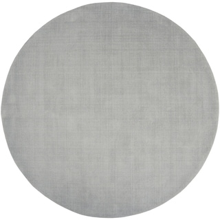 "Hand-crafted Solid Grey/Blue Ridges Wool Area Rug - 9'9"" Round/Surplus"