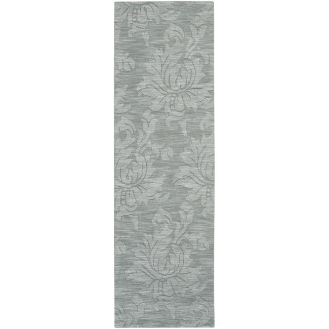 Hand Crafted Solid Blue Grey Damask Mesa Wool Area Rug 2