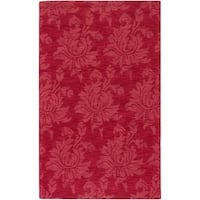 "Hand-crafted Solid Red Mesa Wool Area Rug - 3'3"" x 5'3"""