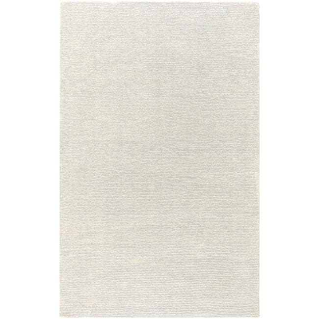 Hand-crafted Solid White Casual Mesa Wool Rug (7'6 x 9'6)