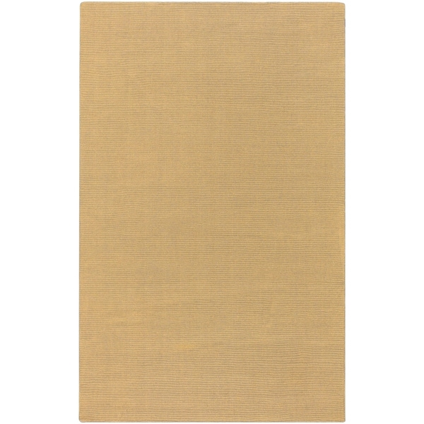 Hand-crafted Solid Pale Gold Casual Ridges Wool Area Rug - 6' x 9'