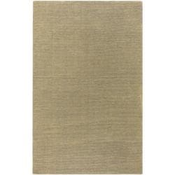 Hand-crafted Solid Pale Gold Casual Ridges Wool Rug (7'6 x 9'6)