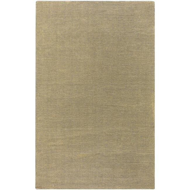 Hand-crafted Solid Pale Gold Casual Ridges Wool Area Rug - 9' x 13'
