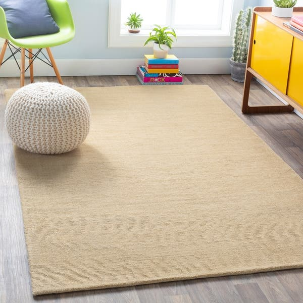 Pale Gold Casual Ridges Wool Area Rug