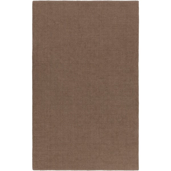 Hand-crafted Solid Brown Casual Ridges Wool Area Rug - 6' x 9'