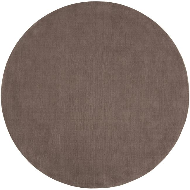 Hand-crafted Solid Brown Casual Ridges Wool Rug (6' Round)