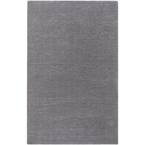 Hand-crafted Solid Grey Casual Ridges Wool Rug (5' x 8')