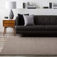 Hand-crafted Solid Grey Casual Ridges Wool Area Rug - 5' x 8'
