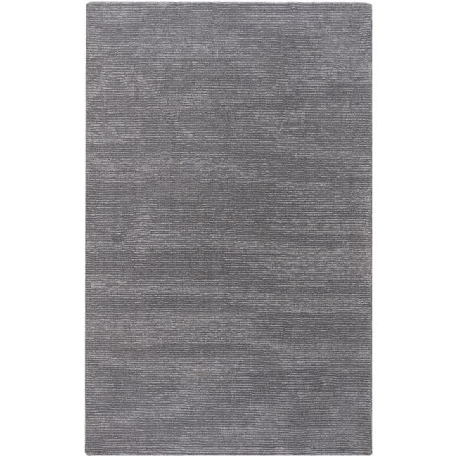 Hand-crafted Solid Grey Casual Ridges Wool Area Rug - 7'6 x 9'6