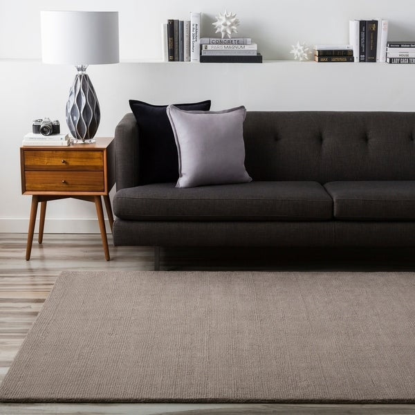Hand-crafted Solid Grey Casual Ridges Wool Area Rug - 9' x 13'