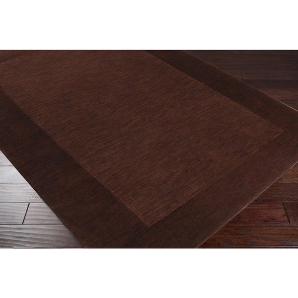 Hand-crafted Solid Brown Tone-On-Tone Bordered Wool Rug (5'x 8')