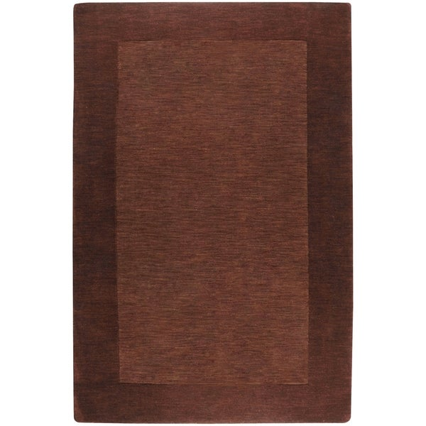Hand-crafted Solid Brown Tone-On-Tone Bordered Wool Area Rug - 6' x 9'