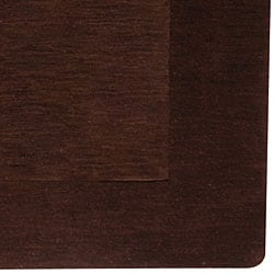 Hand-crafted Solid Brown Tone-On-Tone Bordered Wool Rug (6' x 9') - Thumbnail 1
