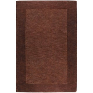 """Hand-crafted Solid Brown Tone-On-Tone Bordered Wool Area Rug - 7'6"""" x 9'6""""/Surplus"""