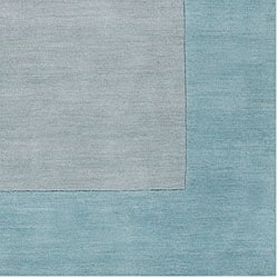 Hand-crafted Light Blue Tone-On-Tone Bordered Wool Rug (3'3 x 5'3) - Thumbnail 1