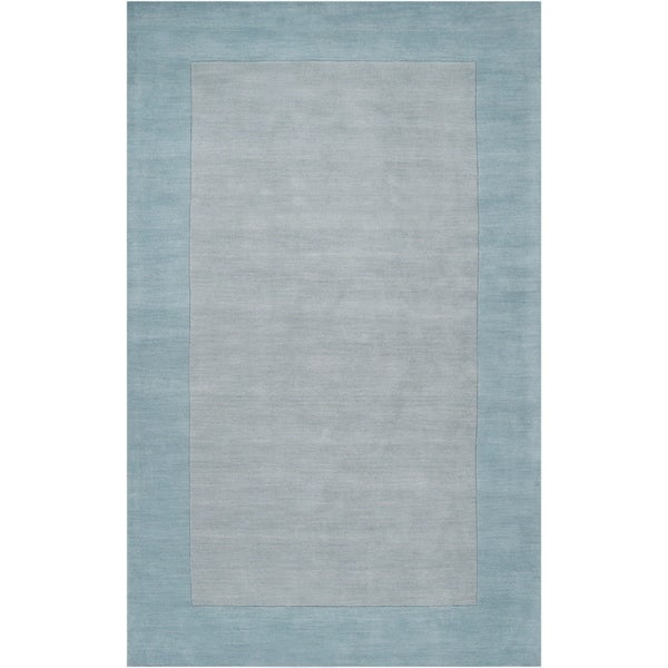 Hand-crafted Light Blue Tone-On-Tone Bordered Wool Area Rug - 6' x 9'