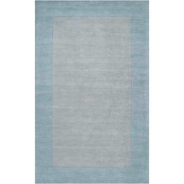 Hand-crafted Light Blue Tone-On-Tone Bordered Wool Area Rug - 7'6 x 9'6