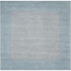 Hand-crafted Light Blue Tone-On-Tone Bordered Wool Area Rug - 8' x 8' - Thumbnail 0